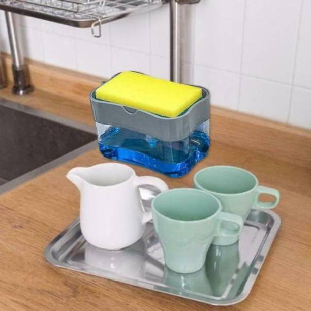 Today Life Style 2 in 1 automatic soap pump dispenser with sponge holder for kitchen sink 900 ml Gel, Liquid, Soap Dispenser
