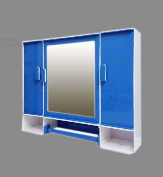 """WINACO Diplomat Deluxe Pure White - Lapis Blue 5 MM Heavy Thickness ( 20"""" x 4"""" x 16"""" ) Bathroom Mirror Cabinet Fully Recessed Medicine Cabinet"""
