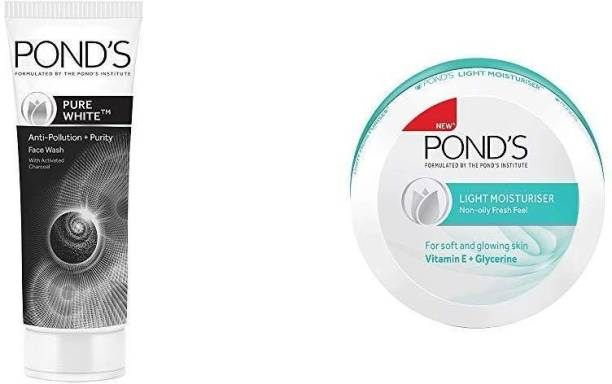PONDS Pure White Anti Pollution With Activated Charcoal Facewash, 100g And Pond's Light Moisturiser, 75ml