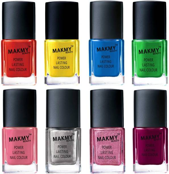 MAKMY BEAUTY Premium Quality Exclusive Nail Polish Set Of 8 Pcs Multicolor MBNPTOP8P28 Multicolor