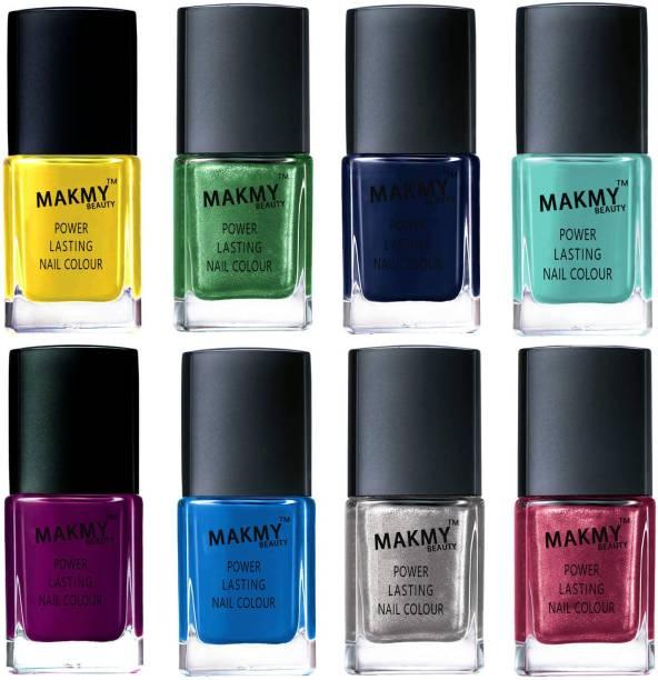 MAKMY BEAUTY Premium Quality Exclusive Nail Polish Set Of 8 Pcs Multicolor MBNPTOP8P40 Multicolor