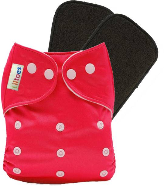 LILTOES Reusable Cloth Diaper + 2 Bamboo Charcoal Inserts - Red Color