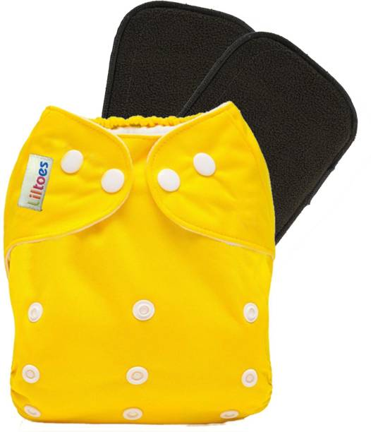 LILTOES Reusable Cloth Diaper + 2 Bamboo Charcoal Inserts - Yellow Color