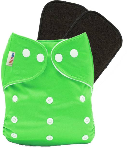 LILTOES Reusable Cloth Diaper + 2 Bamboo Charcoal Inserts - Green Color
