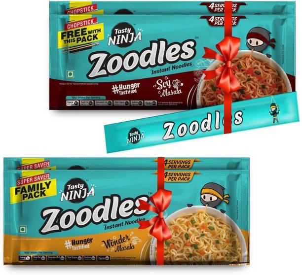 Tasty Ninja Zoodles (Family Packs - 2 Wonder Masala , 2 Soy Masala) 240gm each Instant Noodles Vegetarian