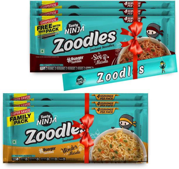 Tasty Ninja Zoodles (Pack of 6 ) (Family Pack 3 Soy Masala and 3 Wonder Masala ) 240gm each Instant Noodles Vegetarian