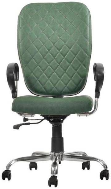 Rastogi Green Scavenger Office Chair with Arms| Compact and space efficient Leatherette Office Conference Chair