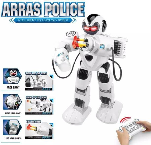 HK ENTERPRISES OFFICIAL Smart Technology Arras Police Robot Walking With Fires Discs,Dances,Talks Super Fun Swing Hands With Shooting Bullets Remote Control Dancing, Smart Talking Robot For Kid (White)