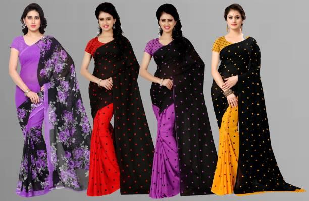 kashvi sarees Floral Print, Polka Print, Paisley, Ombre, Geometric Print Daily Wear Georgette Saree