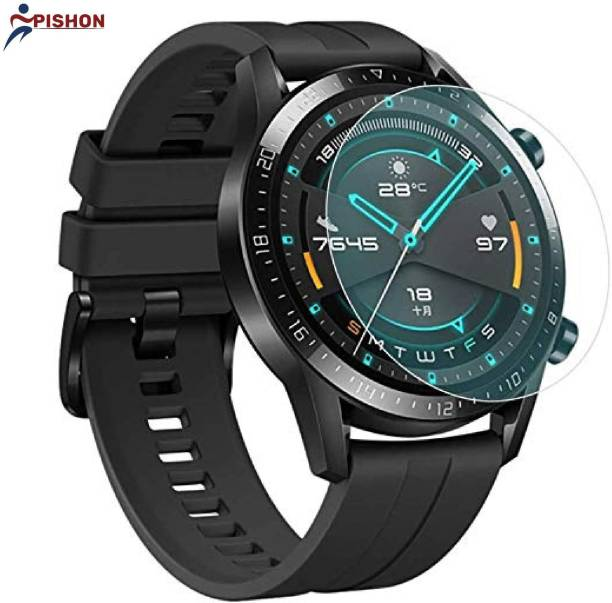 Pishon Tempered Glass Guard for Samsung Galaxy Watch (46mm), Samsung Gear S3 (Transparent) Full Screen Coverage (Except Edges) with easy installation kit
