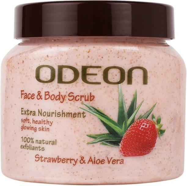 ODEON Strawberry & Aloe Vera Face and Body Scrub|For Extra Nourishment Scrub