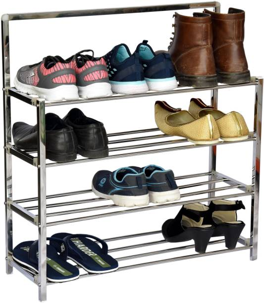 LivingBasics 4 TIER STAINLESS STEEL INSTALLATION FREE FOLDABLE/FOLDING SHOE/SHOES RACK/STAND FOR HOME OFFICE UPGRADED WITH LOCKING SYSTEM Metal Shoe Stand