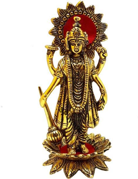 SP Handicrafts Golden elegent Antique Finished Lord Vishnu | Shri Maha Vishnu Idol | Vishnu Statue for Pooja | Decorative Showpiece  -  20 cm