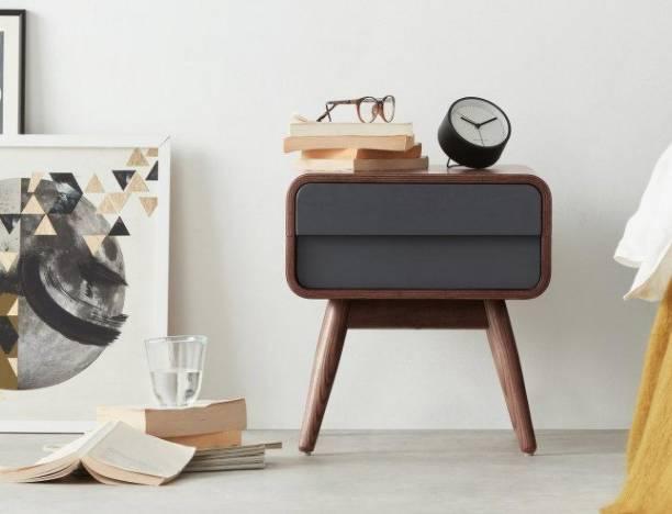 Furniture Adda Outlet Bedside Table in Dark Ash & Grey Solid Wood Bedside Table