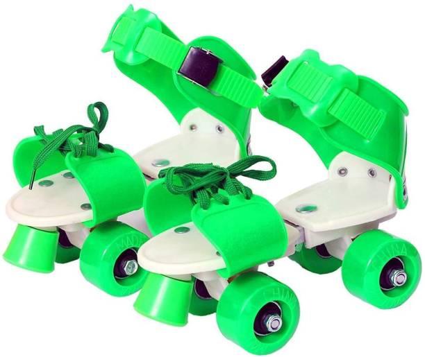 Lakshita Enterprise Super Quality Adjustable GREEN Color Quad Shoe Roller Skates Inline Skates Suitable for Age Group 7 to 11 Years GREEN Quad Roller Skates - Size NA UK