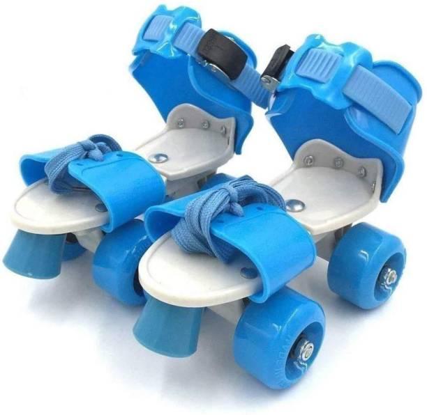 Lakshita Enterprise Super Quality Adjustable BLUE Color Quad Shoe Roller Skates Inline Skates Suitable for Age Group 7 to 11 Years BLUE Quad Roller Skates - Size NA UK