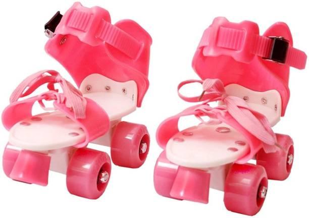 Lakshita Enterprise Super Quality Adjustable PINK Color Quad Shoe Roller Skates Inline Skates Suitable for Age Group 7 to 11 Years (PINK) Quad Roller Skates - Size NA UK