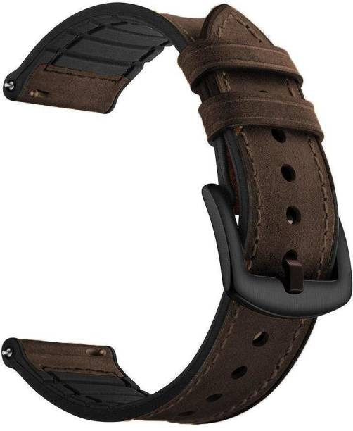 V-TAN Leather Plus Silicone 22mm Band Strap Smart Watch Strap