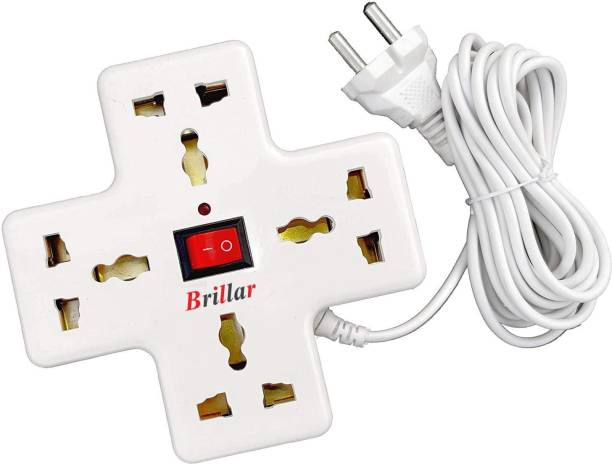 Brillar Brillar Extension Board, 4 Multi Plug Points Universal Sockets Strip, LED Indicator with Switch, 3.6 Meters, Extension Cord - 6 AMP (OffWhite) 4  Socket Extension Boards