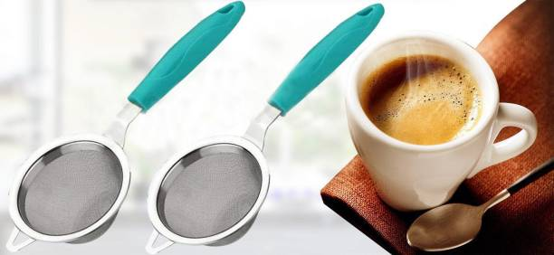 CAPTION Super Quality Tea And Coffee Strainer Filter with Stainless Steel Mesh (Sky Blue) Tea Strainer Tea Strainer