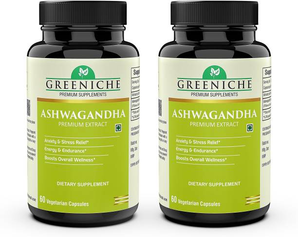 Greeniche Ashwagandha for General Health  Stress Relief   Energy & Strength -60 C(PACK OF 2)