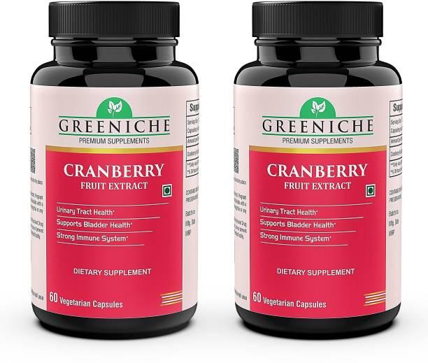 Greeniche Cranberry for Bladder Health & UTI Prevention - 60 Veg Capsules (PACK OF 2)
