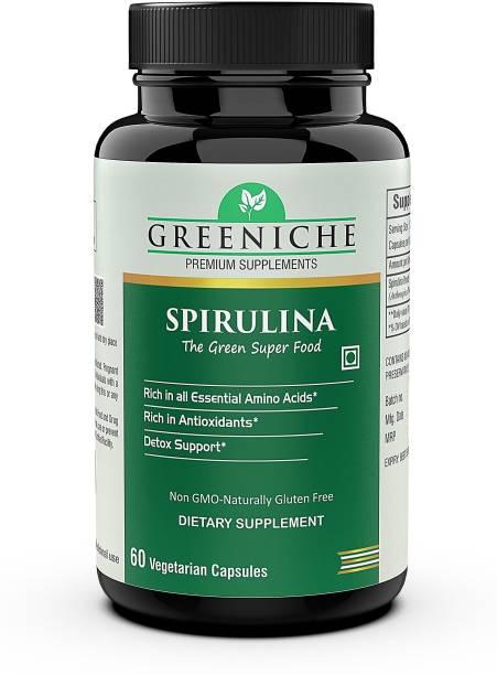 Greeniche Spirulina Superfood for Immunity, Antioxidant & Overall wellness - 60 Veg Capsules