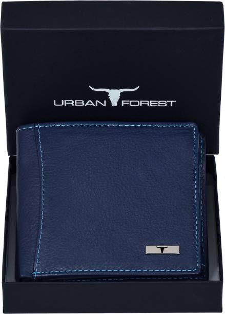 URBAN FOREST Men Blue Genuine Leather Wallet