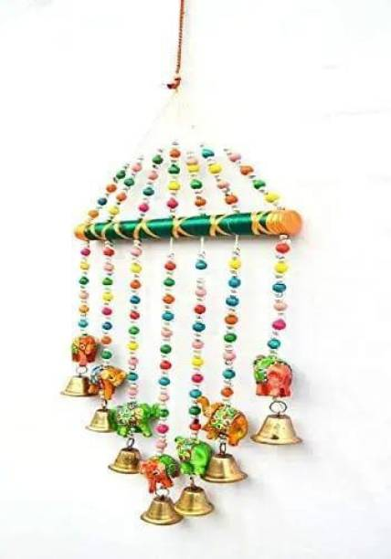 khushbu handicrafts Handmade Multicolor Bell Wall Hanging Decoration for Main Door Living Room | Tota Articles, Bell Design Hanging Toran |Home Office II Religious Festival Gift Ideal II Wood Windchime