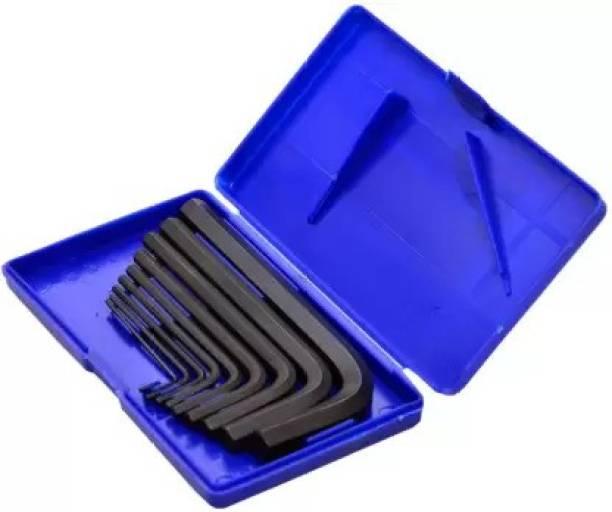 Balaji 9 Pieces Hex Allen Key Wrench L Shape Repair Tool Set Allen Key wrench Set Allen Key Set