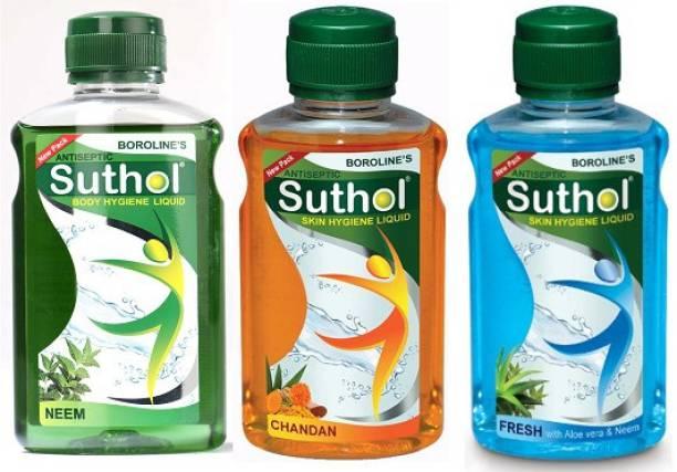 BOROLINE Suthol Neem 200ml, Suthol Chandan 200ml, Suthol Fresh 200ml, Combo pack of 3 (600ml) Antiseptic Liquid