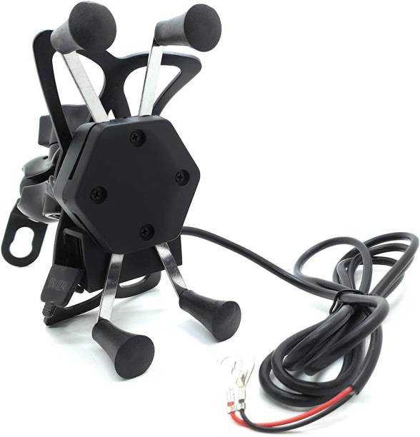 ZeeKart X Grip 360 Degrees Mobile Holder with Adjustable Handlebar & Mirror Adjustable Mount for CBR Motorcycle with USB Charging Point Bike Mobile Holder