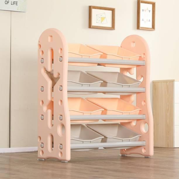 Urbancart Kids Toys and Books Organiser with 8 Storage Bins, Multi-Layer Shelf Rack. (Pink) Plastic Open Book Shelf