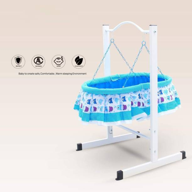GoodLuck Baybee New Born Baby Cradle for Kids | Cradle with Mosquito Net | Cradle with Hanging Teddy bear Toy | Light weight and Easy Transportable with Gentle swing