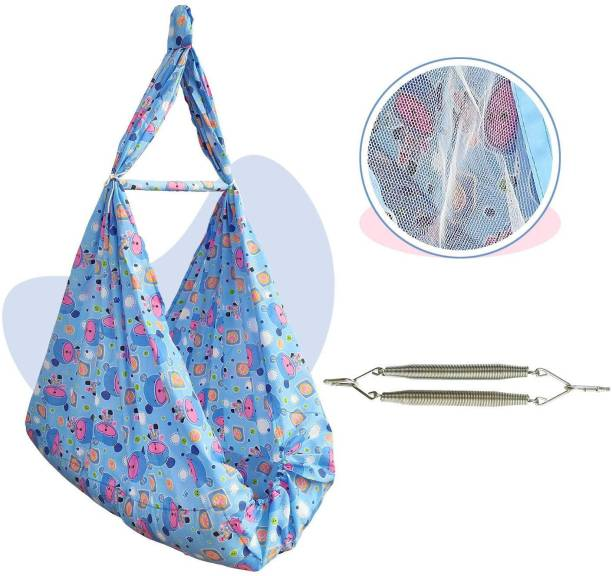 NHR New Born Baby Cotton Hanging Cradle Jhula Jhoola Bed Bedding Set Swing with Mosquito Net and Spring for Baby Boy & Girl (0-12 Months)