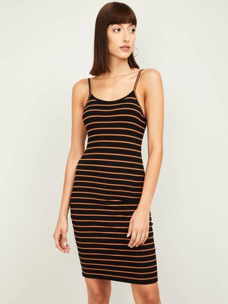 GINGER Women Bodycon Black Dress
