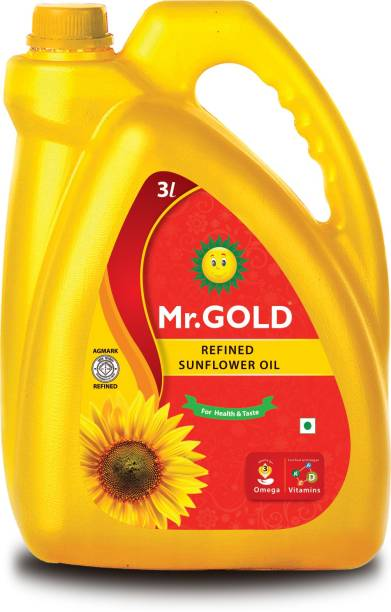 Mr. Gold Refined Sunflower Oil Can,3L Sunflower Oil Can