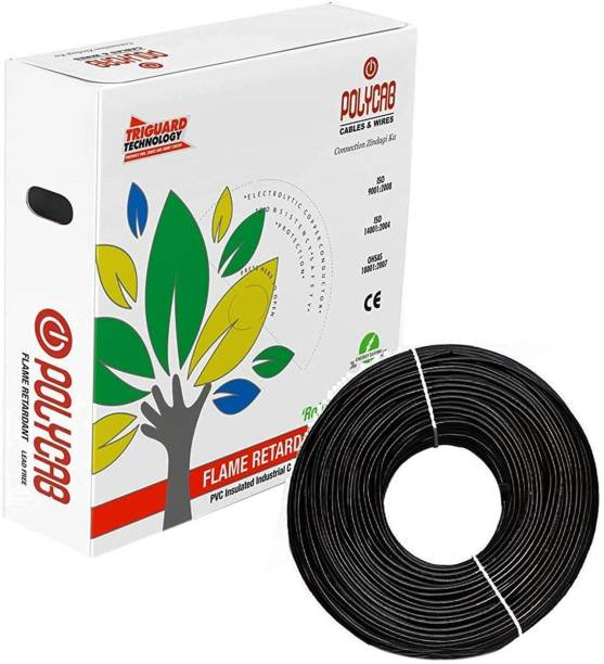 polycab PVC Insulated 2.5 sq/mm Black 90 m Wire