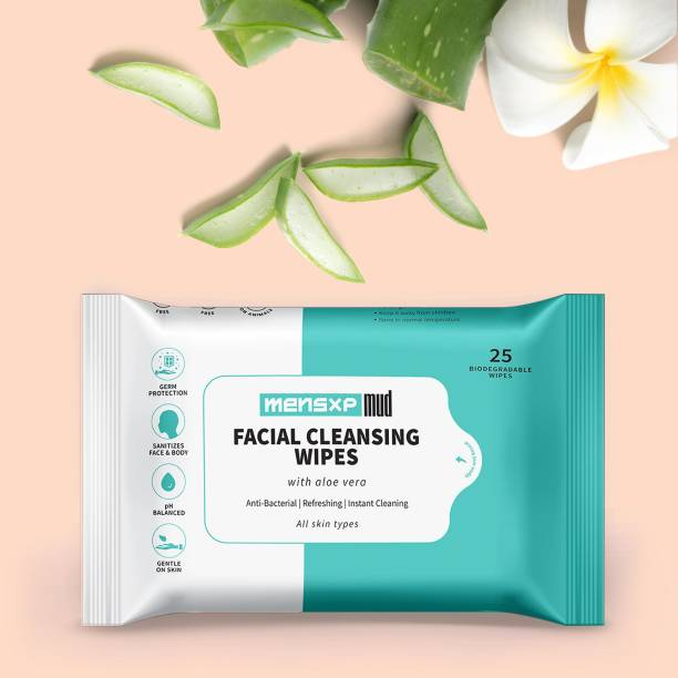 MensXP Mud Cleansing Wet Wipes For Face & Body With Aloe Vera, Glycerin, Neem, Vitamin E - Pack Of 25 Wipes