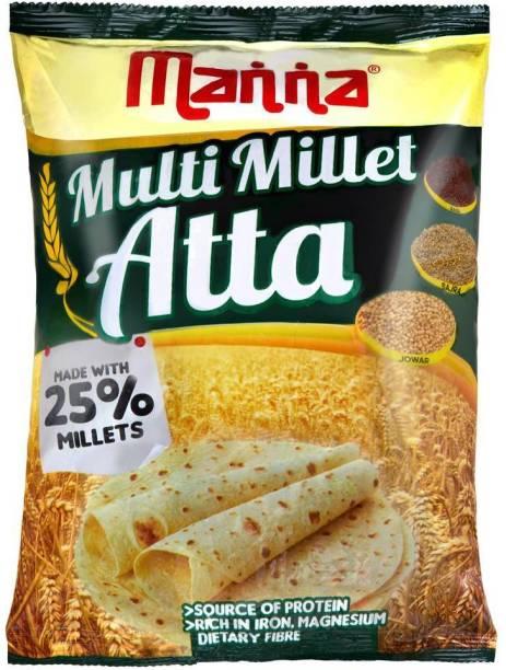 Manna Multi Millet Atta - 1kg - MultiGrain Atta with 25% Millets, Tasty and Healthier Rotis everyday. 100% Natural Flour. Nutrient Powerhouse