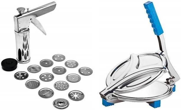 SEASPIRIT Manual Stainless steel Roti/ Puri press machine Stainless steel 15 pattern kitchen press machine Roti/Khakhra Maker