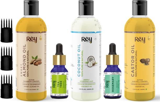 Rey Naturals Complete Hair Care Kit- Castor Oil+Coconut Oil+Almond Oil+Rosemary Oil+Teatree Oil