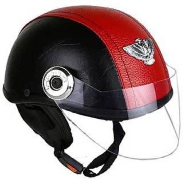 AQB LEATHER CAP UNISEX Motorbike & Scooty Helmet (Black , Red) Motorsports Helmet