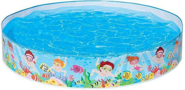 DK FASHION Round Rubber Plastic Small Size Swimming Pool For Children, Diameter 5 Feet Inflatable Swimming Pool (Multicolor)