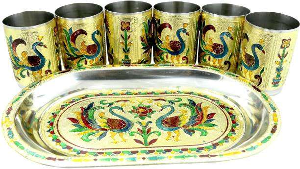 BRAND BASKET Meenakari Peacock design Serving Stainless Steel Tray with Matching Glass set of 6 & 1 (Golden) Tray, Glass Serving Set Glass Tray Set