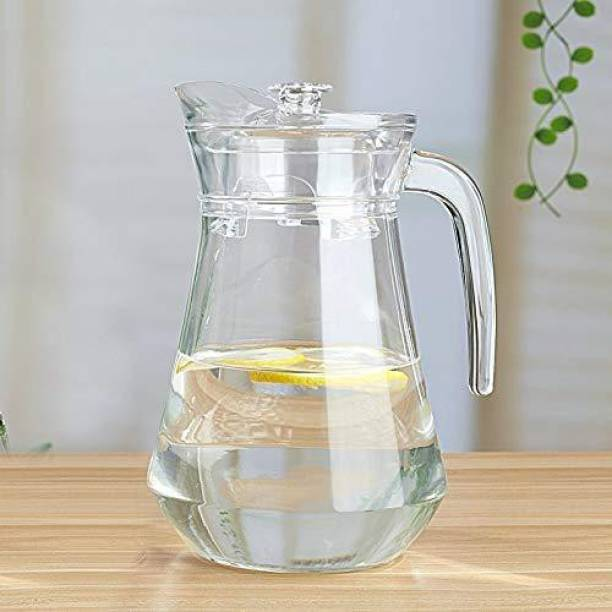 Coozico 1.3 L Water Green Apple Duck Pot 1.3L Glass Pitcher with Plastic lid,Drinking Beverage Jug,Glass Water jug for Home use Jug