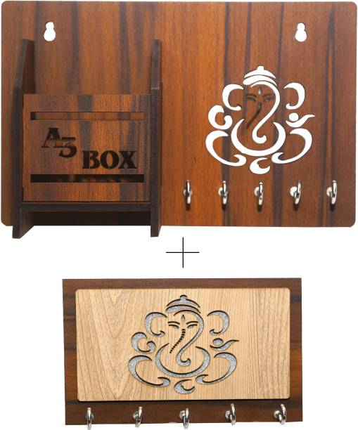 A3 BOX Special Addition Home Entryway Kitchen Office Bedroom Wall Mount Decorative Keys Organizer Combo Wood Key Holder
