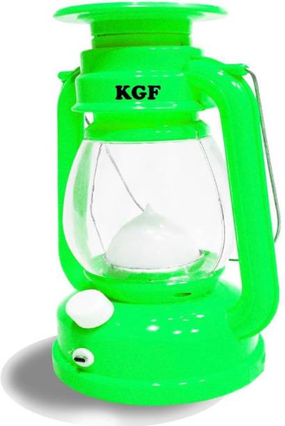 KGF Solar Emergency LED Rechargeable Light Lantern 7 Step Light Regulator with USB Mobile Charging Portable - Travel Camping Lantern - Made in India with Multicolor Green Plastic Table Lantern