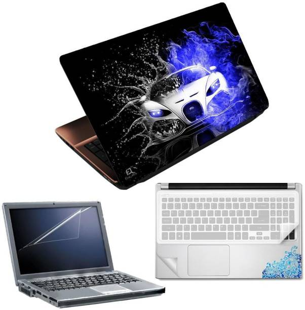 FineArts Car Water Effect 4 in 1 Laptop Skin Pack with Screen Guard, Key Protector and Palmrest Skin Combo Set