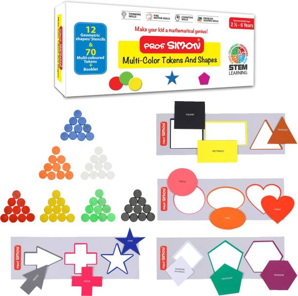 Prof. Simon Color Tokens and Shapes for Mathematics Learning, 12 Geometric Shapes, Stencils and 70 Color Tokens with Instruction Guide and Free Carry Pouch for STEM Learning